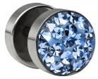 Stahl Fake Plug blaue Kristalle