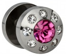 Stahl Fake Plug rosa Kristall